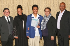 2017 AO Finalist Sean Petersen with Bergvliet High teacher Charles Smith (left), and sister and parents IMG_4735