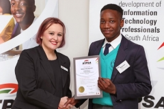 2018 AO Finalist Andy Makaepea receiving certificates from Ulandi Exner (IITPSA President) IMG_9808