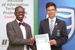 2019 PO Finalist Emmanuel Rassou receiving certificates from Thabo Mashegoane - IITPSA President IMG_4334