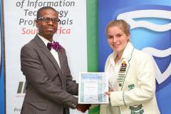 2019 PO Finalist Heather Wimberley receiving certificates from Thabo Mashegoane - IITPSA President IMG_4337