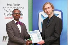 2019 PO Finalist Jared Waker receiving certificates from Thabo Mashegoane - IITPSA President IMG_4336