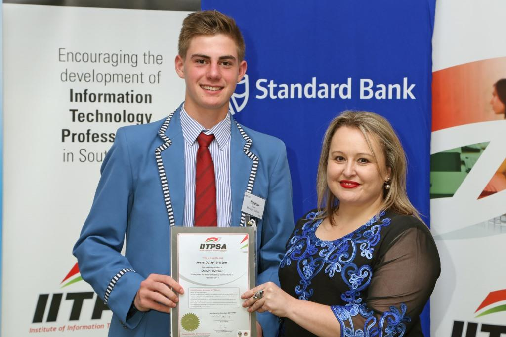 2017 PO Finalist Jesse Bristow (Maragon School) receiving certificates from Ulandi Exner (IITPSA President) IMG_6345