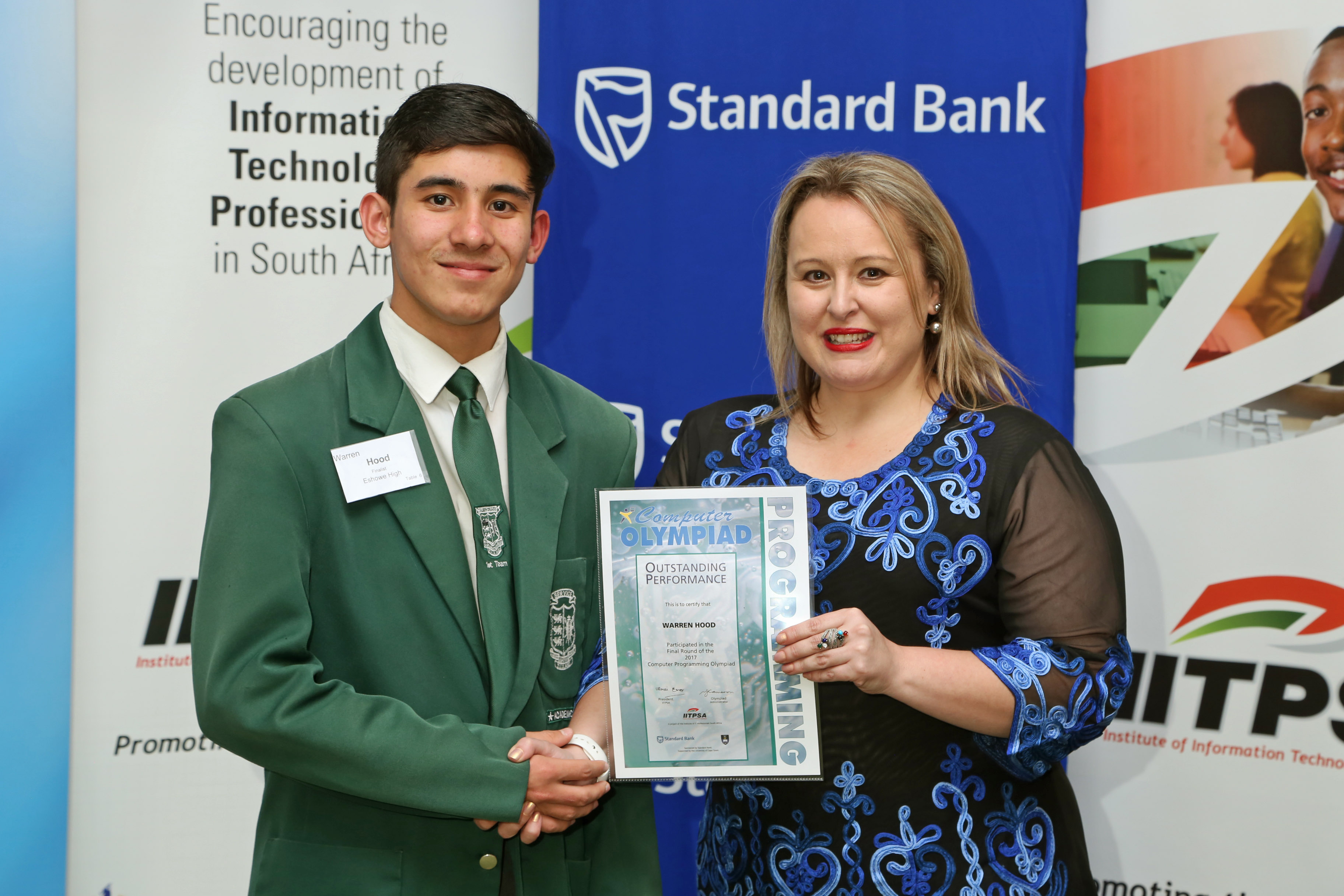 2017 PO Finalist Warren Hood (Eshowe High) receiving certificate from Ulandi Exner (IITPSA President) IMG_6352