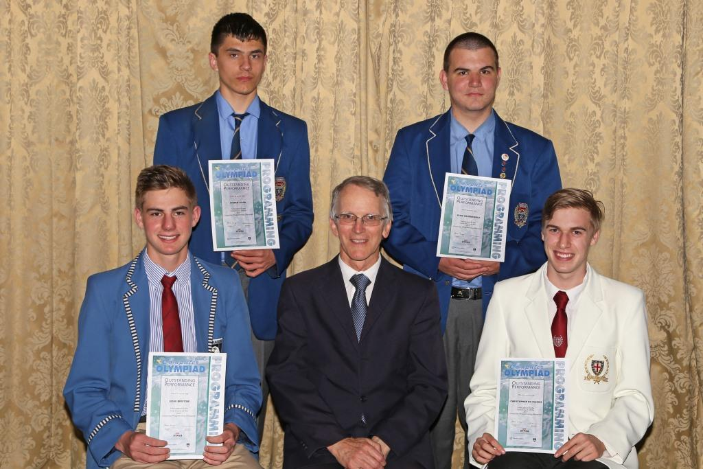 2017 PO Finalists from Gauteng Jesse Bristow, Michael Cameron (Manager), Christopher du Plessis, back row Stefan Louw and Sean Groenewald IMG_6429