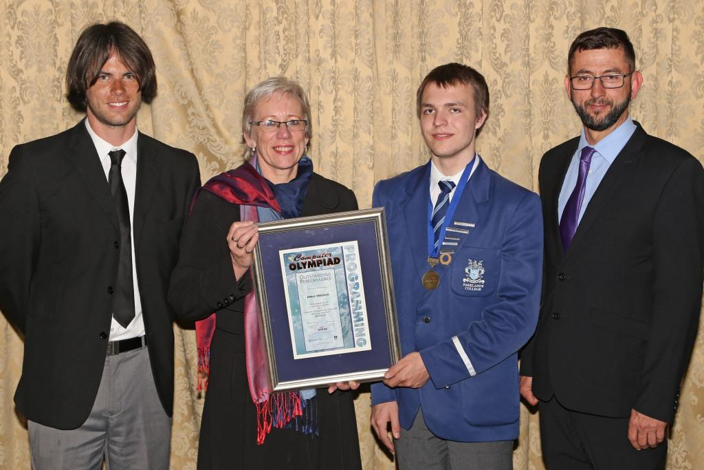 2017 PO Winner Bronze Medal Emile Tredoux (Parklands College) with teacher Marcel Erasmus, principal Sylvia Steyn and IT Director Richard Knaggs IMG_6433
