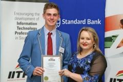 2017 PO Finalist Jesse Bristow (Maragon School) receiving certificates from Ulandi Exner (IITPSA President) IMG_6345