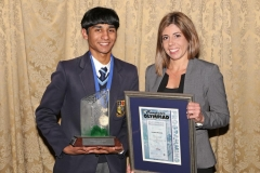 2017 PO Gold Medal Winner Taariq Mowzer with Standard Bank Trophy and Nicole Borges (Standard Bank) IMG_6448 (1)
