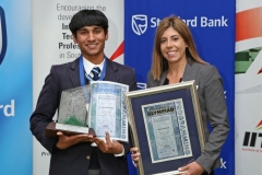 2017 PO Gold Medal Winner Taariq Mowzer with his awards and Nicole Borges (Standard Bank) IMG_6