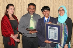 2017 PO Winner Gold Medal Taariq Mowzer with teacher Martene Granger (Fairbairn College), and parents Zakir and Ghadija IMG_6402